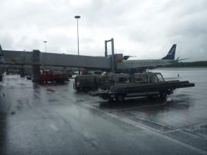 Regen op Helsinki airport