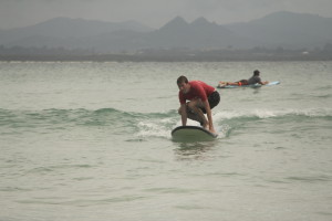 Actie op het surfboard.