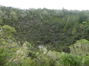 De krater van deze vulkaan. Ongeveer 600 jaar geleden uitgebarsten.