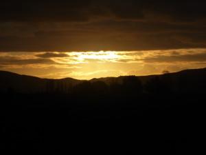 Erg mooie zonsondergang op weg naar Wairoa.